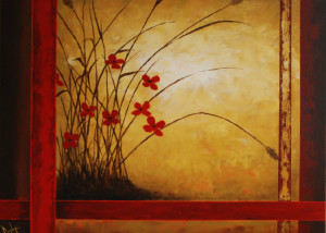 "Crimson Blooms is a 24""x30"" Acrylic available directly thru the artist"