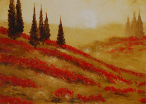 "Red Blooms at Dawn is a 20""x20"" Oil available directly thru the artist"