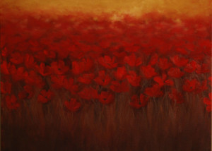 "Red Blooms is a 24""x24"" Oil available thru Art Gallery H"